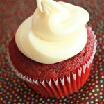 Homemade red velvet cupcakes with cream cheese frosting