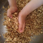 little chefs mixing homemade granola