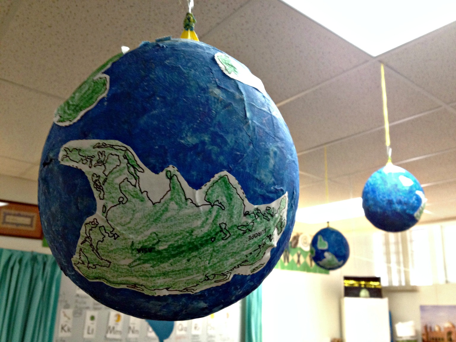 Earth Day paper mache globe