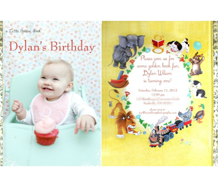 Little Golden Book Birthday Invite