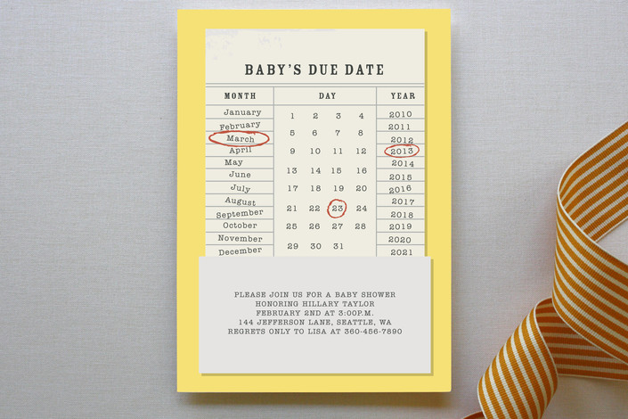 Baby's Due Date Shower Invitation