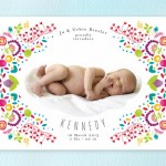 Funky Fancy Floral Frame Birth Announcement